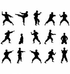 silhouettes of karate vector image