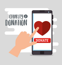 Smartphone with charity donation online vector