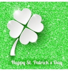 St Patricks day Greeting Card with 3d White Paper vector image