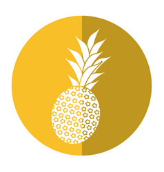 Sweet pineapple tropical fruit shadow vector