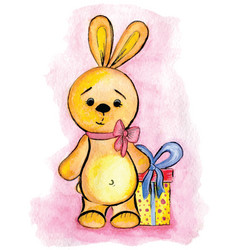 The watercolor drawing toy bunny with gift vector