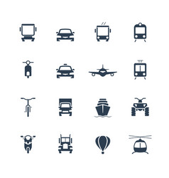 transportation icon set front view vector image