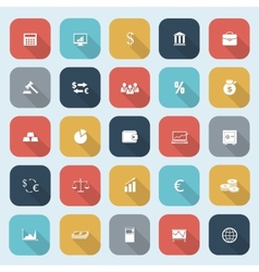 Trendy simple finance icons set in flat design vector image