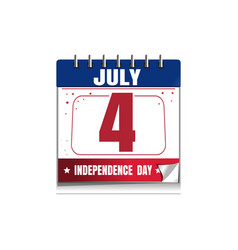 Us independence day calendar 4 july vector