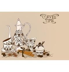 With vintage coffee service vector