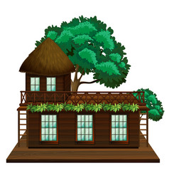 wooden cabin with green tree vector image