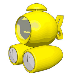 yellow submarine on white background vector image