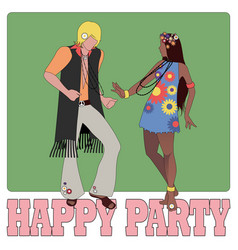 young couple wearing hippie clothes of the 60s vector image