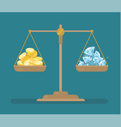 coins and diamonds balance on the scale vector image