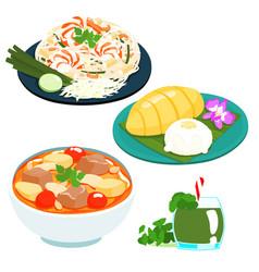 popular thai sweet mango sticky rice set vector image vector image
