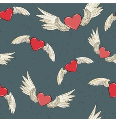 seamless wings and heart vector image vector image
