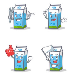 set of milk box character with mechanic foam vector image