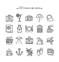 Set of Outline Travel Icons on White Background vector image