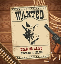 Wanted poster with cowboy objects on wood texture vector image vector image