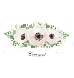 floral bouquet design with white anemones leaves vector image