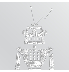 grunge robot doodle on a white background vector image vector image