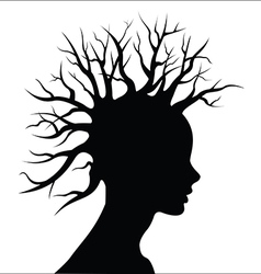 Head silouete with tree as hair vector image vector image