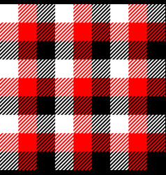 lumberjack plaid pattern in red white and black vector image