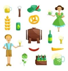 Oktoberfest icons set cartoon style vector image