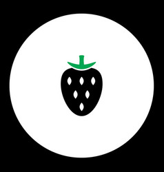 Strawberry fruit simple black and green icon eps10 vector