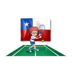The flag of Chile at the back of a tennis player vector image