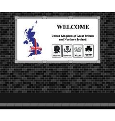 Welcome UK advertising board vector image vector image