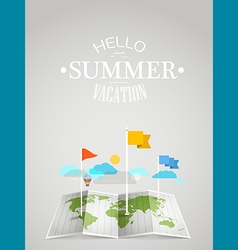 World map with different marks Summer travel vector image vector image