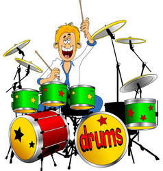 young drummer vector image vector image