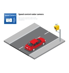 A speed control radar camera isolated on white vector