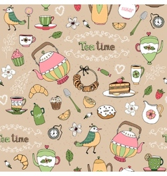Afternoon tea seamless background pattern vector image