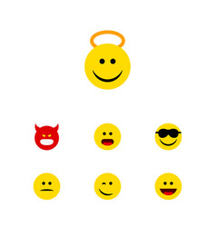 Flat icon face set of angel happy laugh and vector