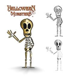 Halloween monsters spooky human skeleton EPS10 vector image