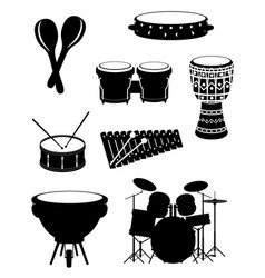 percussion musical instruments set icons stock vector image vector image