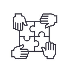 puzzle with four handspartnership line vector image vector image