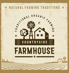 Vintage countryside farmhouse label vector