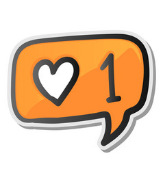 bubble sticker with hearts counter notification vector image vector image