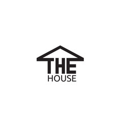 house text with roof logo design template vector image vector image