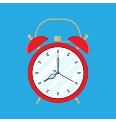 Red Alarm Clock on blue background vector image vector image
