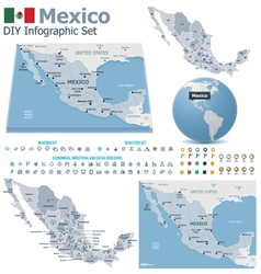 United Mexican States maps with markers vector image