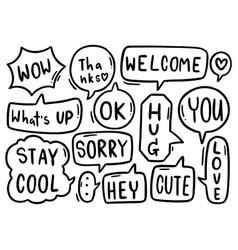 0142 hand drawn background set cute speech vector