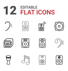 12 bass icons vector