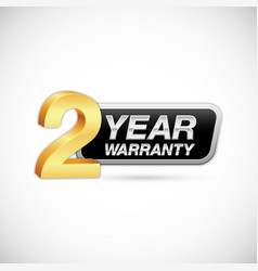 2 year warranty golden and silver label vector