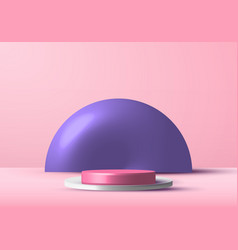 3d realistic pink and white rendering podium vector