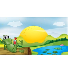 A frog with a glass of juice vector image