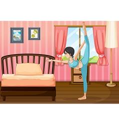 A girl exercising inside her room vector