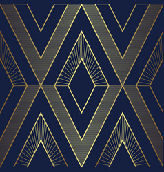 abstract art deco seamless blue and golden pattern vector image