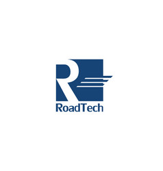Abstract letter r logo with road sign design vector