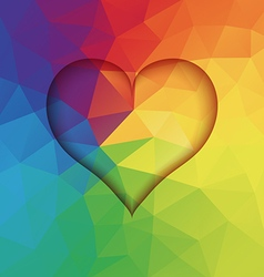 Abstract low poly background with heart shape vector image