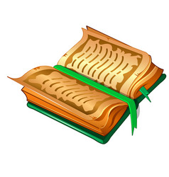 Ancient book with parchment sheets and green cover vector