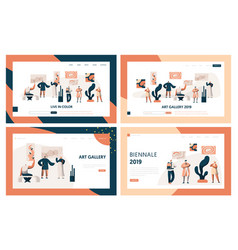 Art gallery people visitor landing page set vector